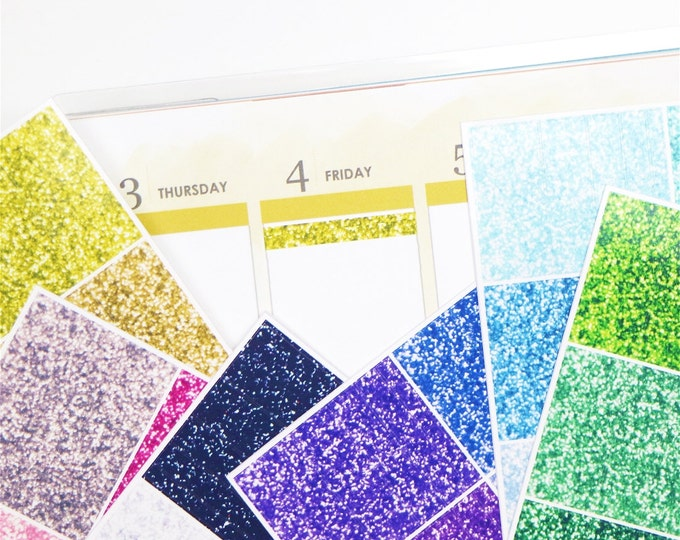 Multicolour Glitter Header / Label Planner Stickers (6 sheets)