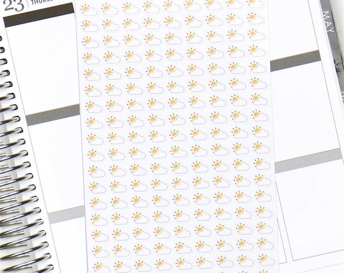 Sunny Cloudy Weather Planner Stickers - Glossy (162 Stickers)