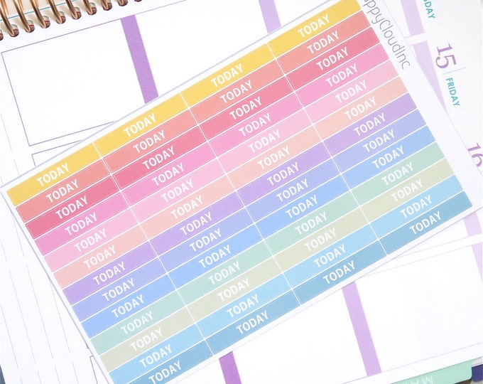 Pastel Rainbow Today Label Planner Stickers