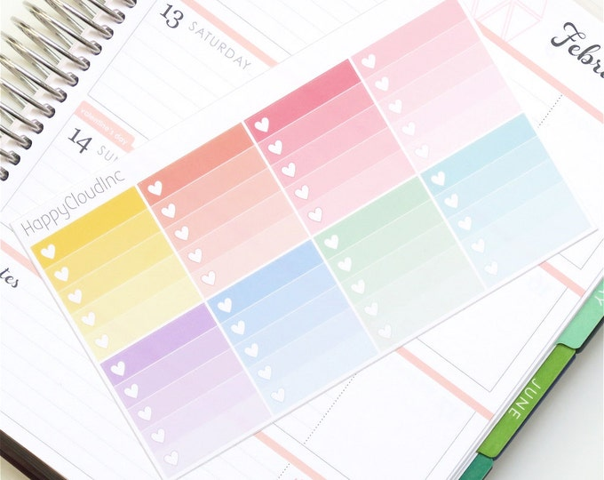 Horizontal Ombre Heart Checkboxes Planner Stickers for use with Erin Condren LifePlanner™