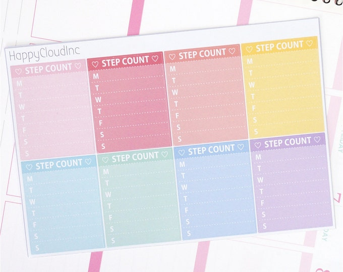Pastel Rainbow Sidebar Step Count Tracker Planner Stickers