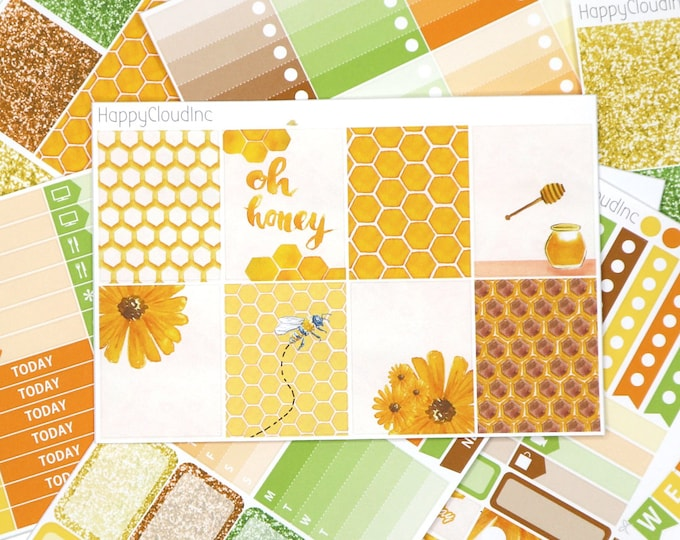 Honey Bee Planner Sticker Kit for Vertical Erin Condren LifePlanner™ (8 sheets)