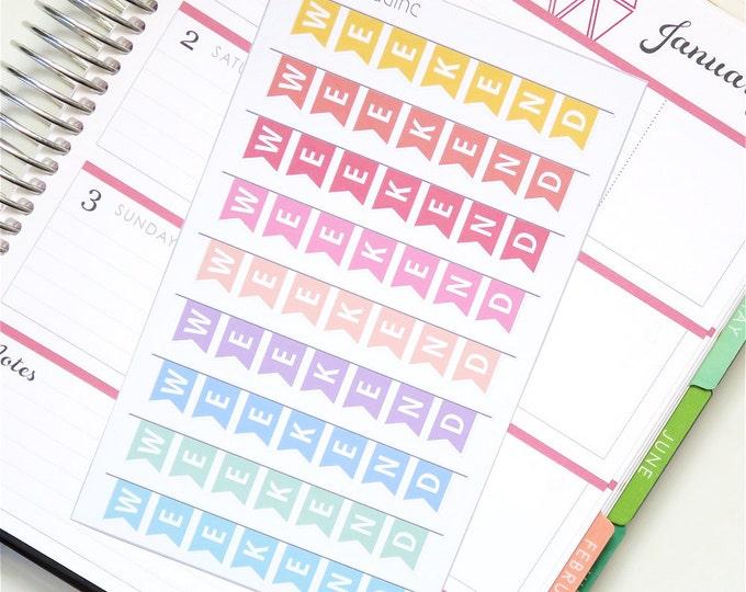 Horizontal Pastel Rainbow Weekend Banner Planner Stickers for use with Erin Condren LifePlanner™