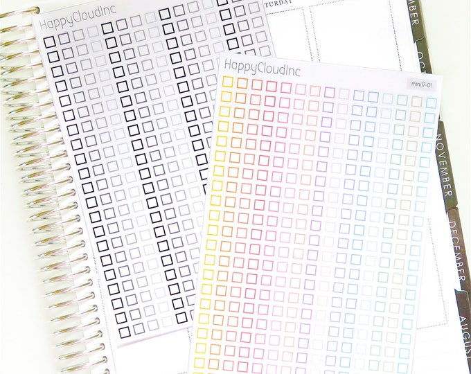 Mini Square Checkbox Planner Stickers | Checklist Stickers | BUJO Stickers