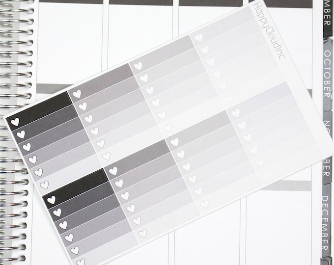 Neutral Vertical Ombre Heart Checklist Planner Stickers for use with Erin Condren LifePlanner™