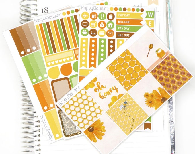 Honey Bee HORIZONTAL Planner Stickers Kit for use with Erin Condren LifePlanner™ (4 sheets)