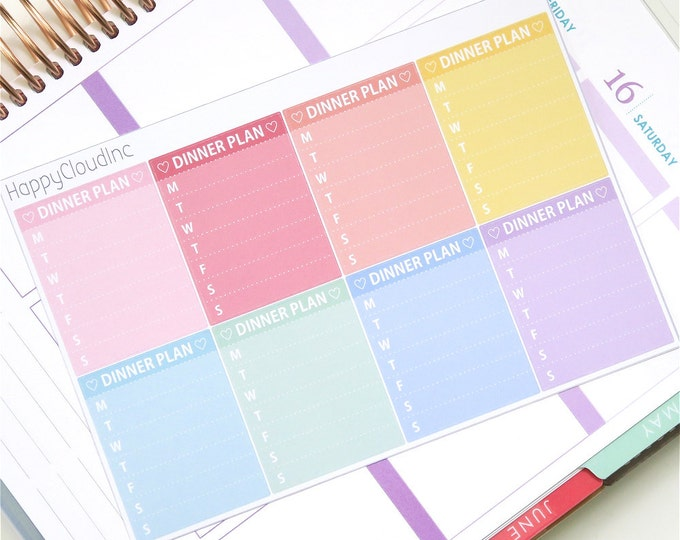 Pastel Rainbow Sidebar Weekly Dinner Planner Stickers