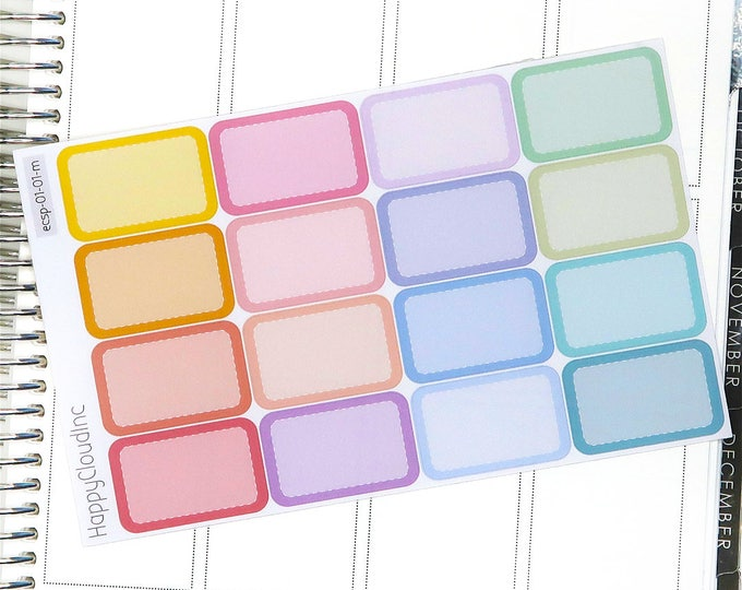Pastel Rainbow Vertical Half Boxes Planner Stickers for use with Erin Condren LifePlanner™ (16 Stickers)