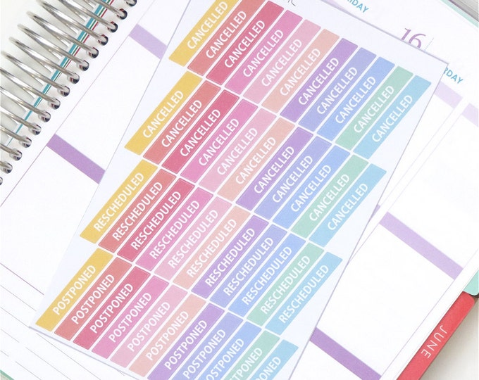 Pastel Rainbow Glossy Cancel / Rescheduled / Postponed Label Planner Stickers
