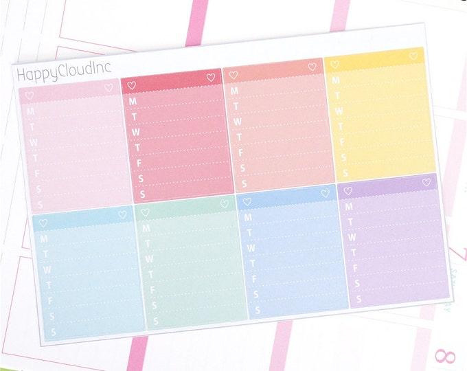 Pastel Rainbow Sidebar Weekly Tracker Blank Planner Stickers