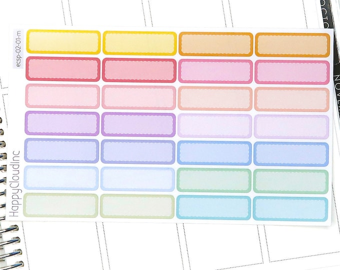 Pastel Rainbow Quarter Boxes Planner Stickers for use with Erin Condren LifePlanner™ (28 Stickers)