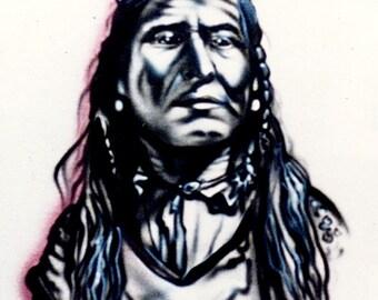 Lakota design, Native American portrait, airbrush t shirt, Native American shirt, Native American pillowcases, gift for him,