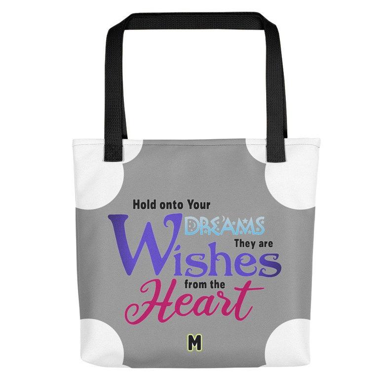 Tote bag  Dreams are Wishes Black
