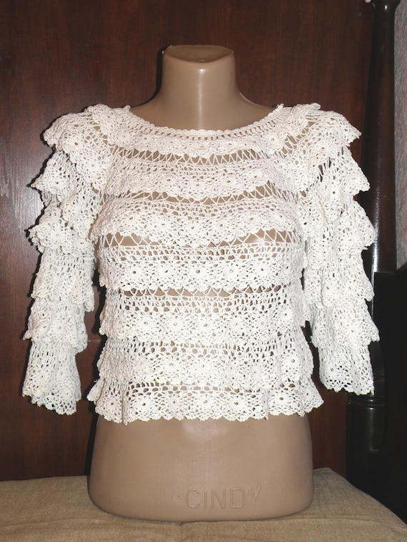 White Crocheted Lace Blouse Size S, Short Blouse w