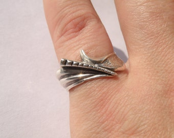 Vintage sterling silver ring. Silver 925 ring. Ukrainian silver ring. Vintage silver ring 1990-s. 17,5 mm /7 ring. Gift for her, girlfriend.