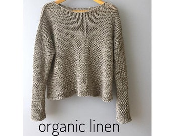 Linen uncolored sweater Knit linen sweater Women Natural sweater Bohemian  linen sweater Organic sweater Tricoté pull lin Boho linen pullover ba936e7d8