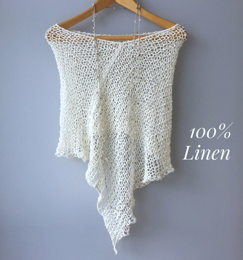 Boho Linen poncho Cream Natural Lightweight summer poncho Knit shawl ORGANIC Linen Dress cover up Boho chic poncho Loose poncho Eco