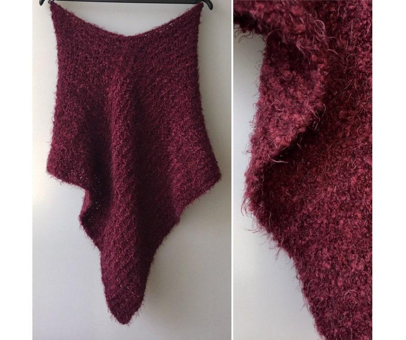 Knit poncho Wool poncho Hand Knitted shawl Purple dress cover up Boho Women knit cape