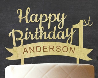 First Birthday Cake Topper, Wooden Cake Topper, Custom Rustic Birthday Wood Cake Topper, Rustic Topper, Custom Name Cake Topper CATO-W44
