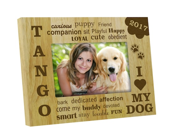 Wood Engraved Picture Frame Rustic Frames Personalized Dog Etsy