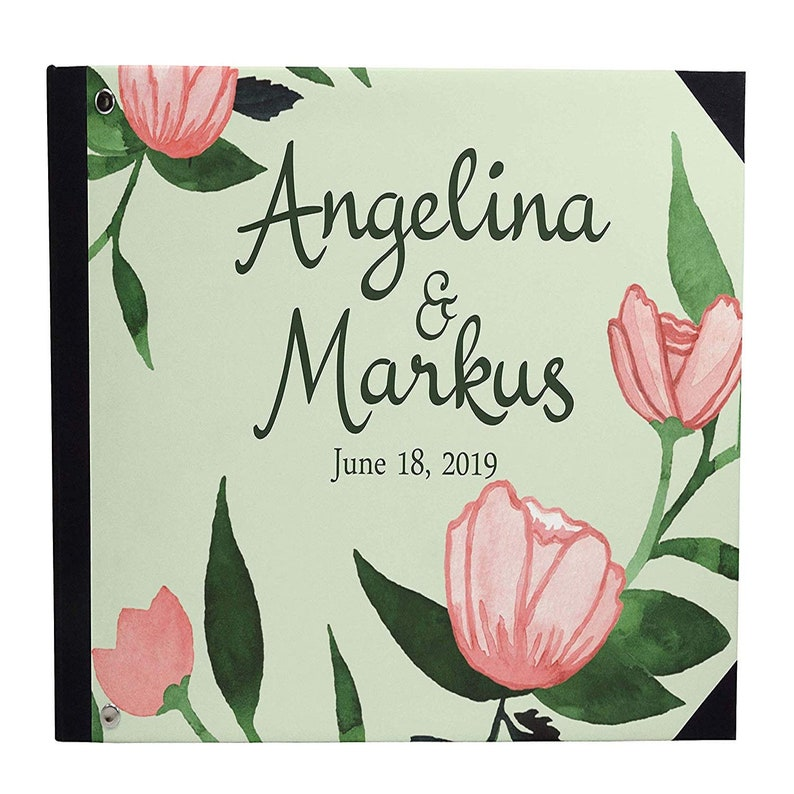 Green Floral /& Leaves guest book Anniversary Party Guest Book PDSPGB-41A Bride and Groom wedding guestbook Hardbound Cover Printed