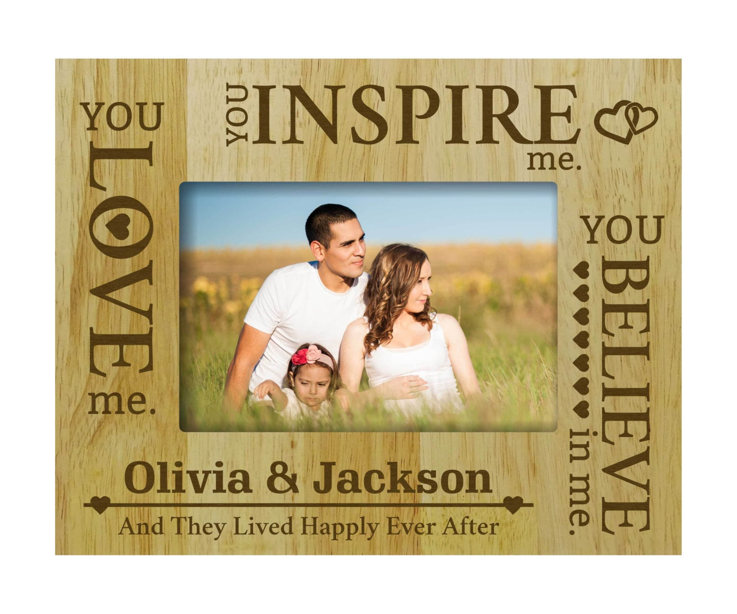 Wood Engraved Picture Frame, Rustic Frame, Personalized Wedding ...