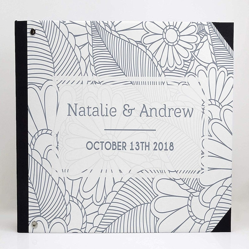 Guest Registry Guestbook White Floral Printed Guestbook Guest Sign-in Book PDSPGB-186A Wedding Guestbook With Your Personalized Details