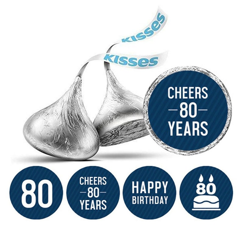 Kisses Stickers 80th Birthday Theme Birthday Favor image 0