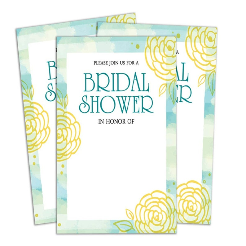 Wedding Shower Invitation,Printable Elegant Fill or Write in Blank Party Invites 28 Pcs,PDS-IN432A Printed White Bridal Shower Invitation