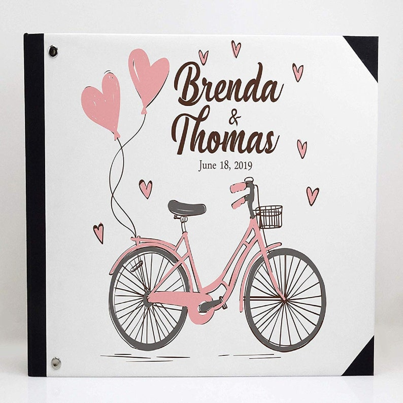 Guest Sign In book PDSPGB-1A Personalized Wedding Guestbook Wedding Guest Book Gift idea Bicycle /& Heart Print White Wedding Guestbook