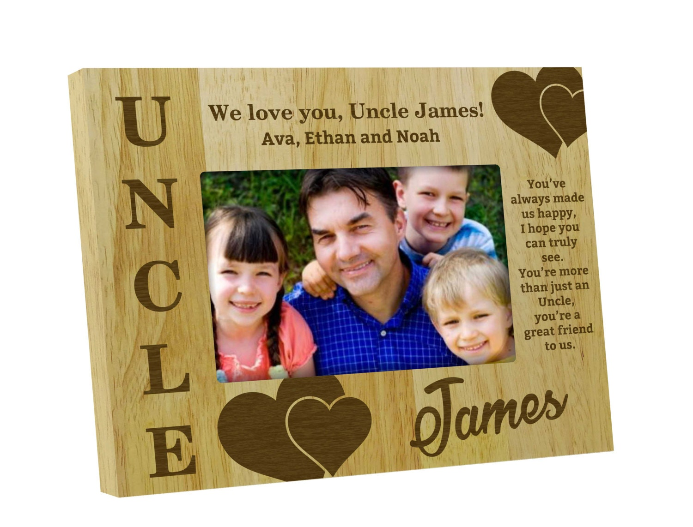 Holz Bilderrahmen graviert personalisierte Onkel Bilder