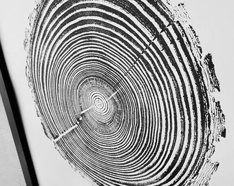 Georgia State Pine, Tree ring print from pine, Original Woodblock printed by hand from Real pine. Signed by Erik Linton