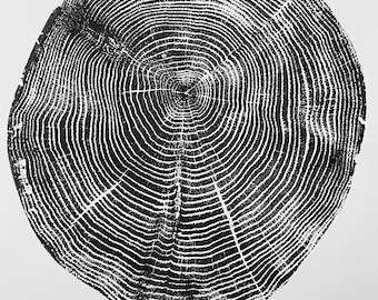 Long Island New York Oak, Tree ring print from Oak, Original Woodblock printed by hand from Real oak. Signed by Erik Linton