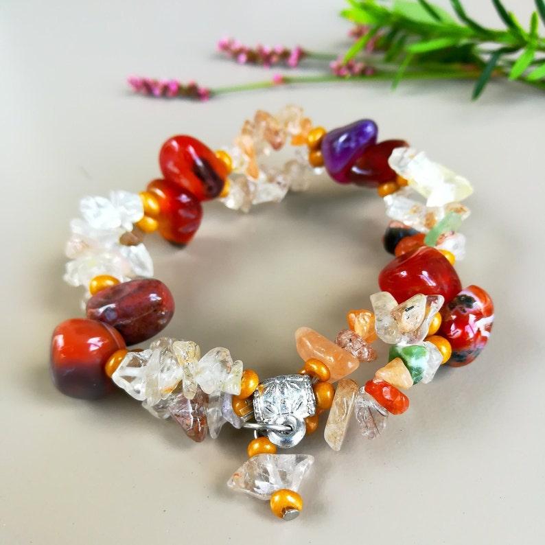 Natural Stone Bracelet for Strength Red Opal Bracelet Mix image 0