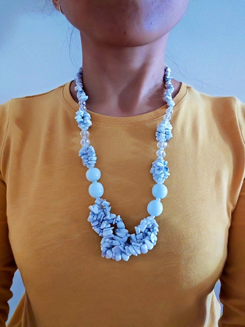 Genuine Stone Necklace With Ethnic Design White Opal Gemstone image 0