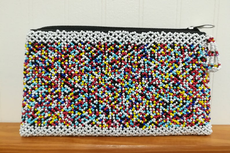 Beaded Purse One Compartment Colorful Beaded Clutch Bag image 0