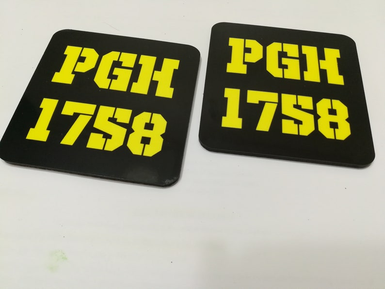 Black Coasters Set  Pittsburgh PGH 1758 Black and Gold image 0