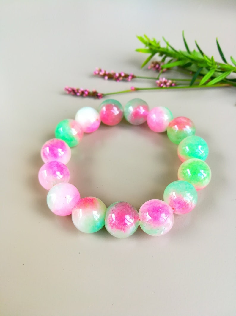Natural Stone Bracelet For Strength Rainbow Opal Bracelet image 0