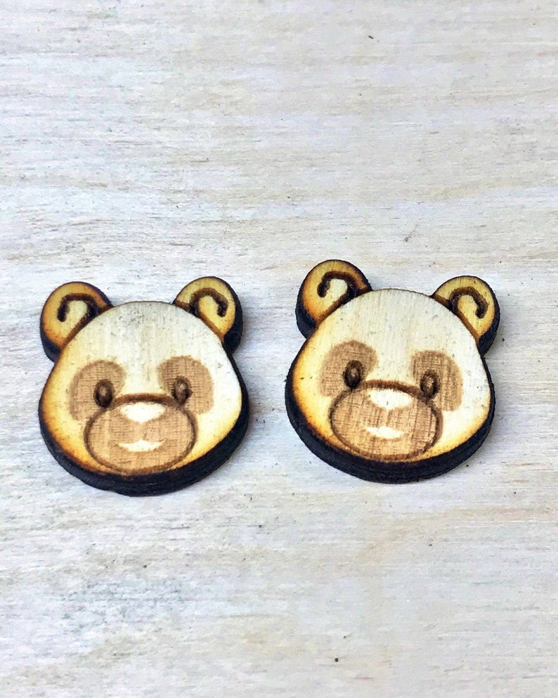 Panda Earrings Round Wood Earrings Animal Lover Earrings image 0