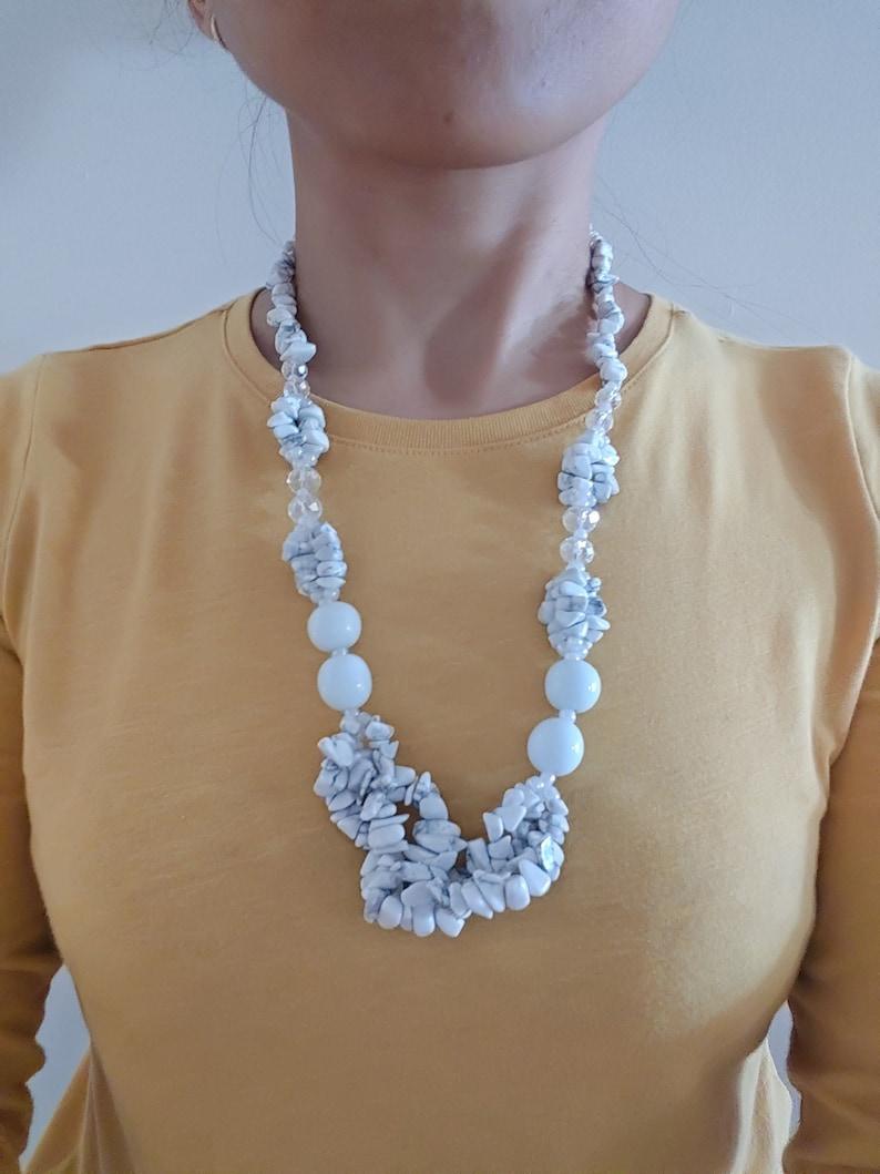 White Handmade Stone Necklace With Ethnic Design White Opal image 0