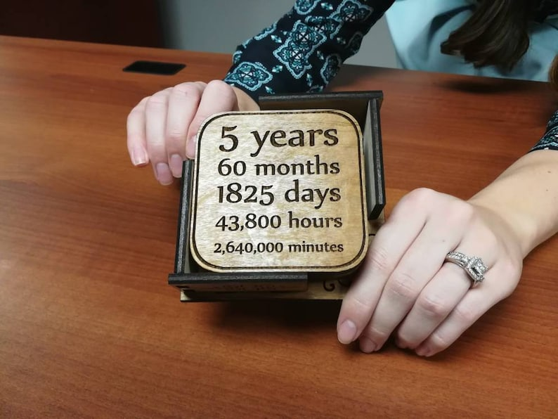 Five Year Wood Anniversary Coasters Personalize Romantic image 0