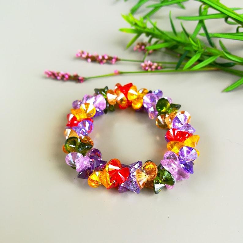 Crystal Bracelet With Diamond Cut Genuine Gemstone Bracelet image 0