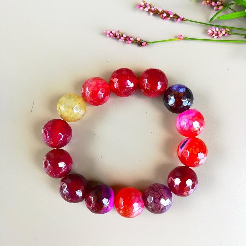 Natural Stone Bracelet For Strength Red Opal Bracelet image 0