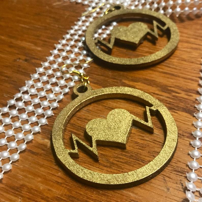 Heart Beat Dangle Gold Earrings Love Earrings Round image 0