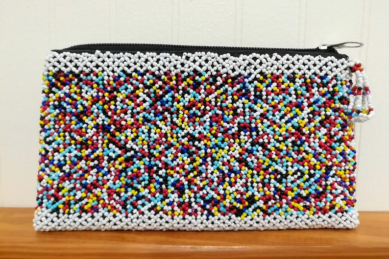 Beaded Purse One Compartment Colorful Clutch Bag Statement image 0
