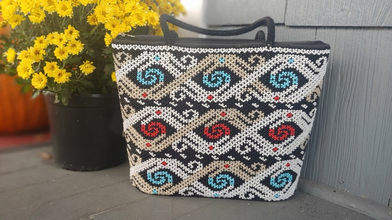 Ethnic Beaded Tote Bag With One Compartment Statement Hand image 0
