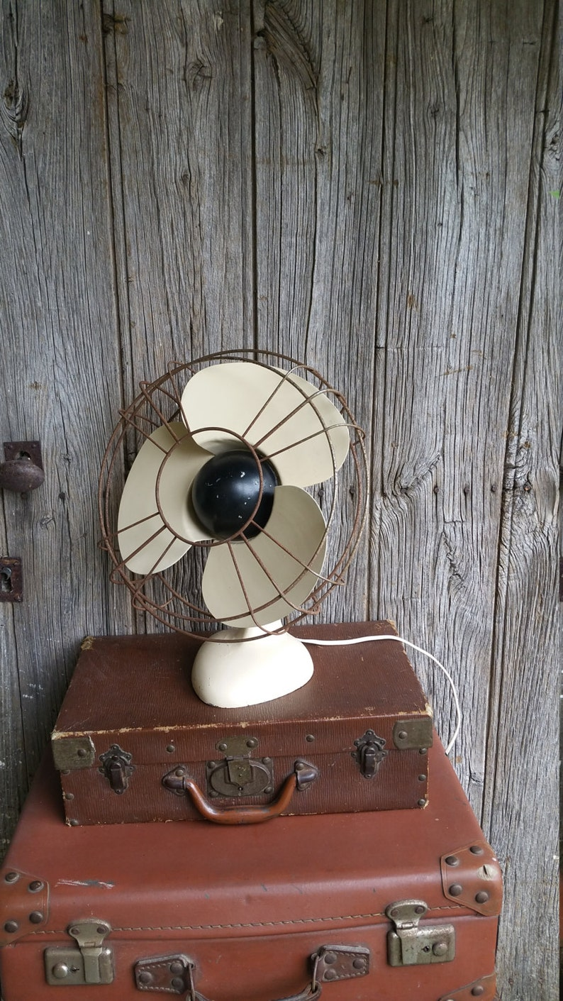 French Vintage Art Deco Metal Working Electric Fan with Bakelite Plug,  1930s Electric Cooler Fan