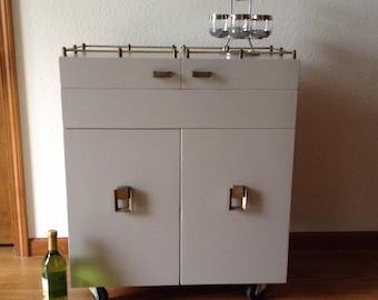 Custom Vintage Century Modern Wine Cabinet Dry Bar Refurbished Dry Bar  Cabinet