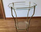 Vintage Brass and Glass Stand, Plant Stand, Octagon Side Table, 2 Tier Hollywood Regency Table