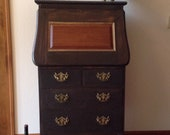 Antique Drop Leaf Desk, Arts and Craft Desk, Oak Desk, Drop Down Desk